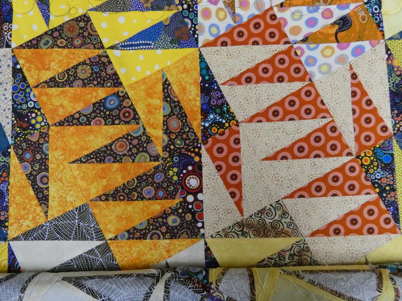 Panneau-mural-Aussie dream-Motif-Quilting-BULLE-fil-multicolore-avant le matelassage
