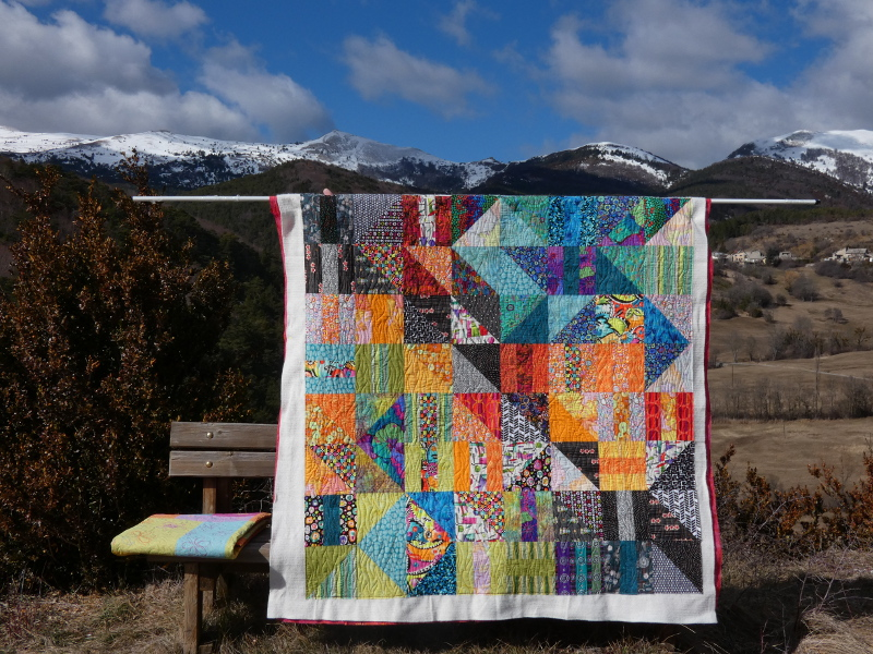 "Plaid-""Border line""-Motif-Quilting-VAGUE-fil-uni-orange"