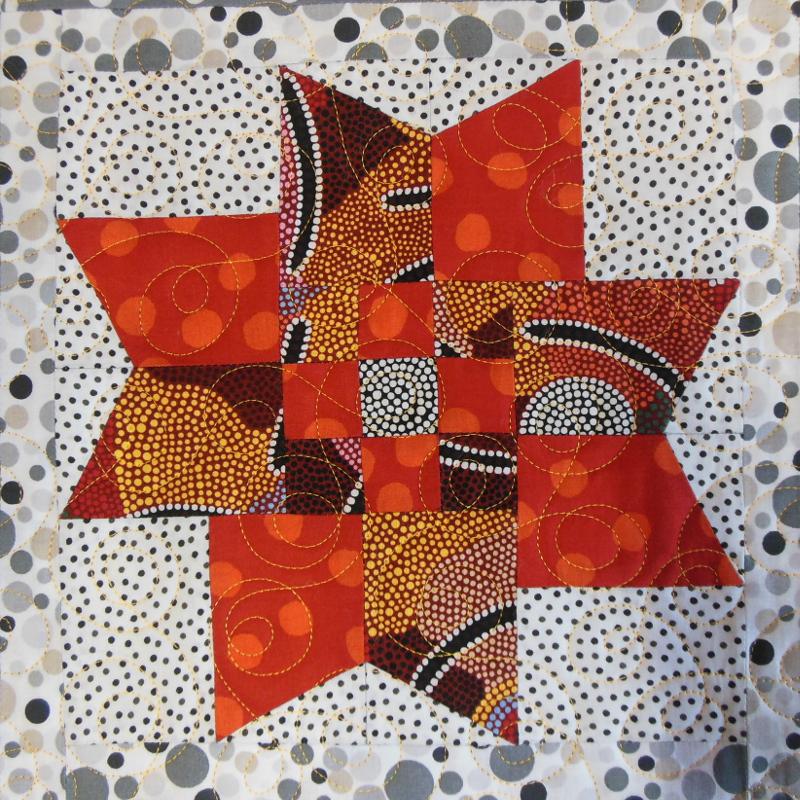 """Plaid-""""Scoubidou""""-Motif-Quilting-DOUBLE BOUCLE-fil-uni-orange-bloc après le matelassage"""
