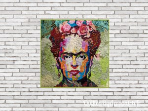 Tableau-Textile-Portrait-Frida-Kalho-Motif-Quilting-Vague-fil-transparent-après le matelassage