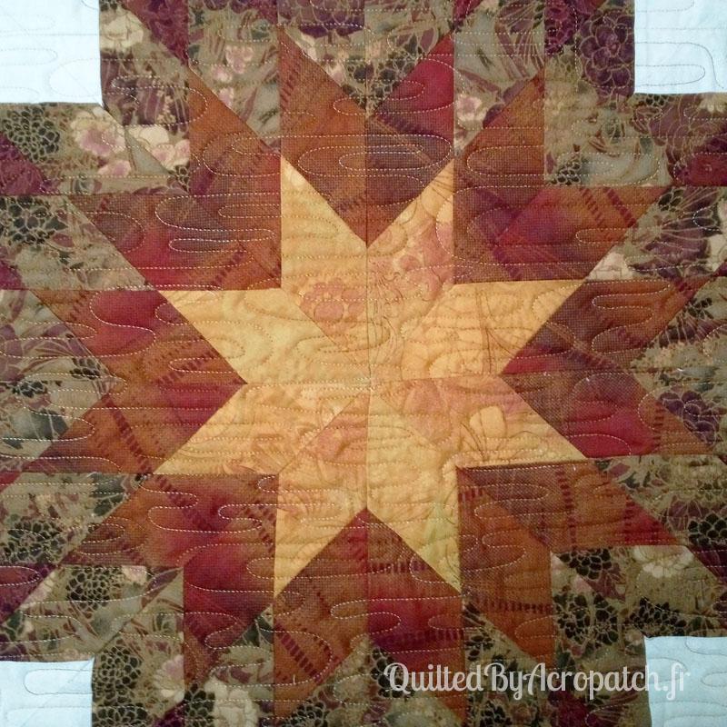 The lone star-Panneau-mural-Motif-Quilting-Ondulation-fil-dégradé-mordoré-détail du matelassage et du centre de l'étoile