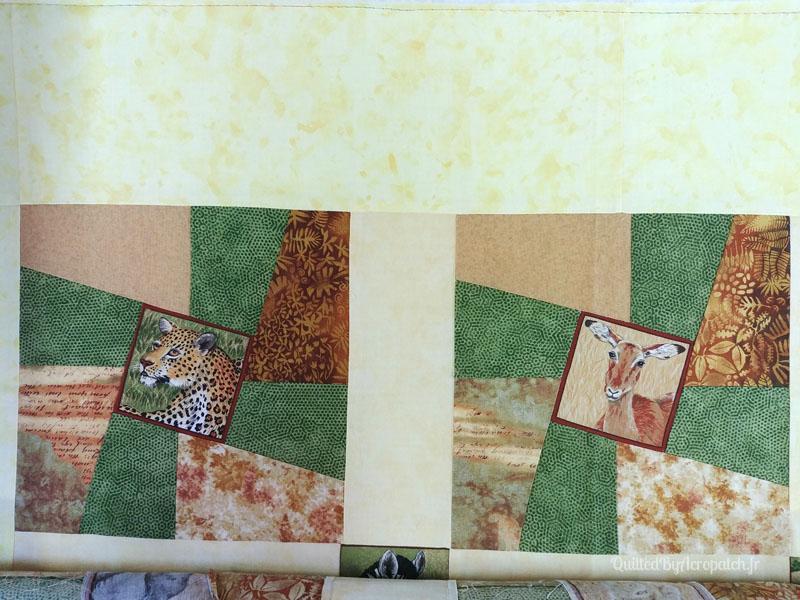 Couvre_lit-Twisted sisters-Motif-Quilting-BULLE-fil-multicolore-blocs avant le matelassage