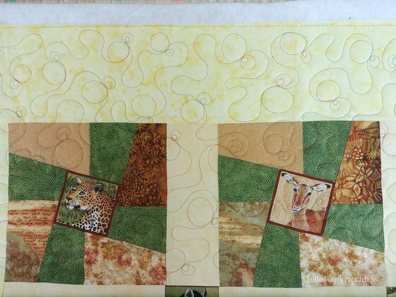 Couvre_lit-Twisted sisters-Motif-Quilting-BULLE-fil-multicolore-blocs après le matelassage