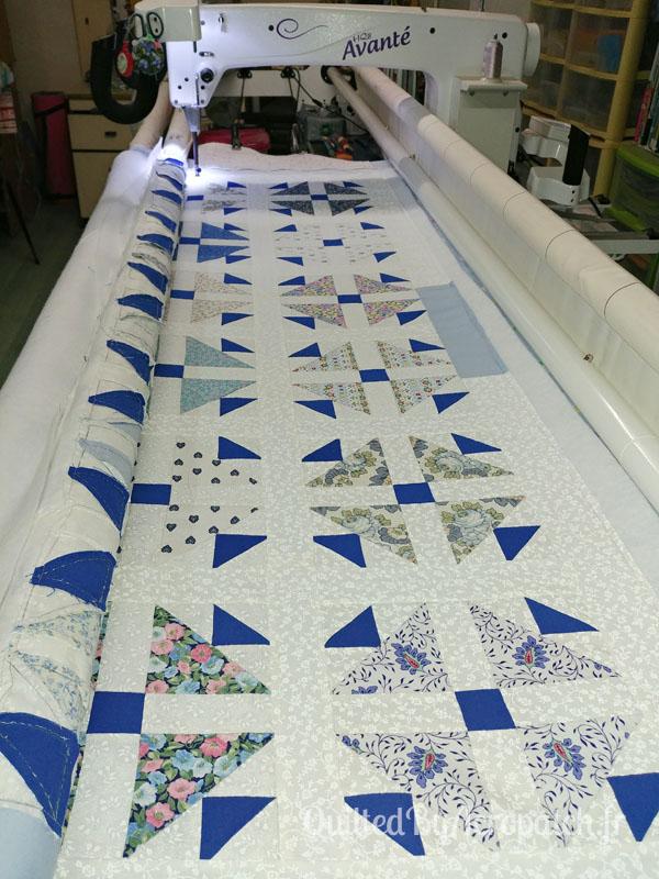 Plaid-Motif-Quilting-Pétale-Fil-multicolore-pastel-122x148-Bâti sur la machine