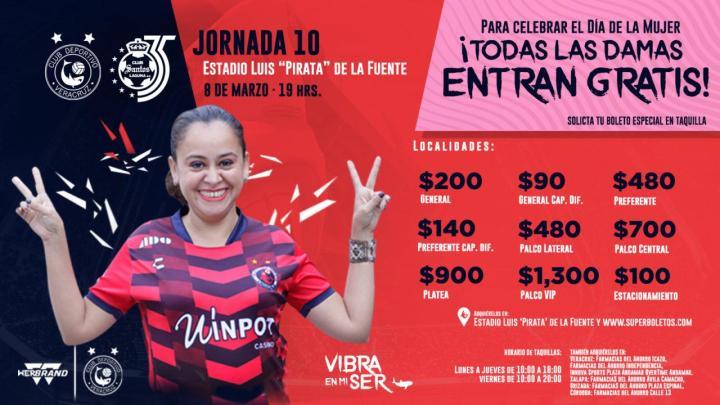 Damas ingresarán gratis al partido Tiburones Rojos vs Santos