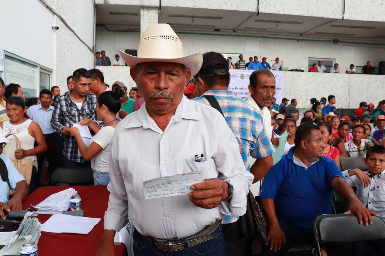 La Secretaría de Desarrollo Agropecuario, Rural y Pesca (SEDARPA) entregó un millón 798 mil 500 pesos como indemnización por las afectaciones en mil 199 hectáreas de cultivos, a 856 productores de Pánuco e Ilamatlán.