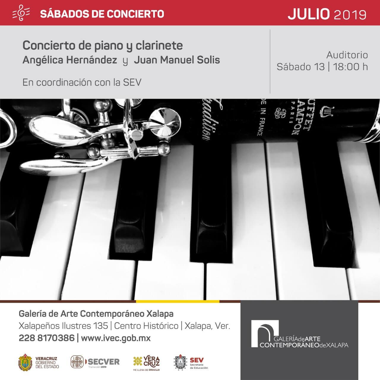 El Instituto Veracruzano de la Cultura (IVEC), en coordinación con la Secretaría de Educación de Veracruz (SEV), a través de la Galería de Arte Contemporáneo de Xalapa, se complace en invitar al público en general al concierto de piano y clarinete que interpretarán la pianista Angélica Hernández Cruz y el clarinetista Juan Solís Delgado, este sábado 13 de julio, a las 18:00 horas. La entrada es gratuita.