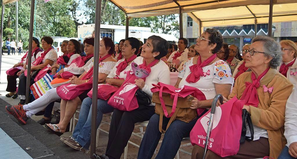 En el marco de la conmemoración del Día Mundial de lucha contra el Cáncer de mama, la Delegación Norte del Instituto Mexicano del Seguro Social (IMSS) en Veracruz y el Voluntariado IMSS entregaron una Bolsa Rosa IMSS a 150 mujeres mastectomizadas.