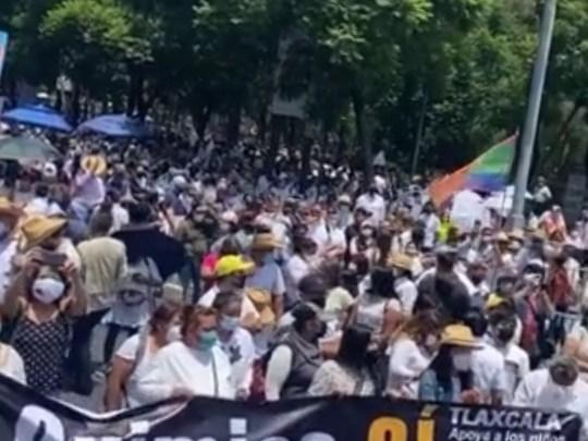 """Padres de """"Niños con Cáncer"""" protestan en la Cd. de Mexico."""