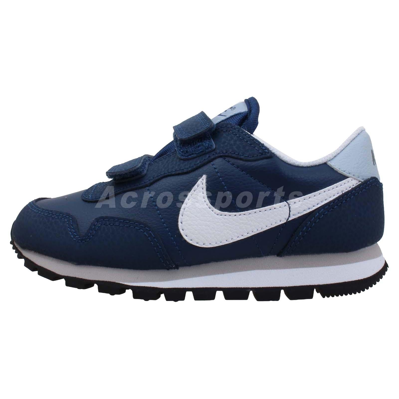 Nike Metro Plus Psv Navy Blue Velcro Preschool Kids Running Shoes