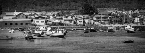 Outer harbour of Puerto Montt villages at low tide