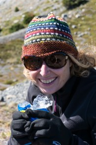 Michelle munching on some glacial ice