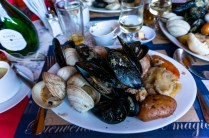 Traditional Chiloe dish called Curanto prepared like a hangi.