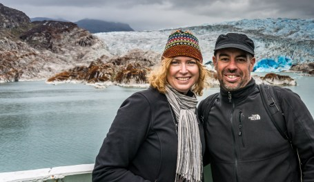 Standing in front of the glacier