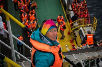 Our navimag buddy Karin disembarking for a shore excusion.