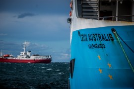 The Crux Australis, our vessel for the trip to Isla Magdalena