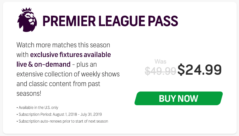 NBCSports Gold Premier League Pass