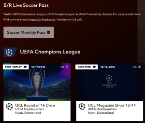 screen shot of the Bleacher Report live soccer pass