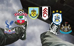 a man falling surrounded by potential relegation premier league team team logos