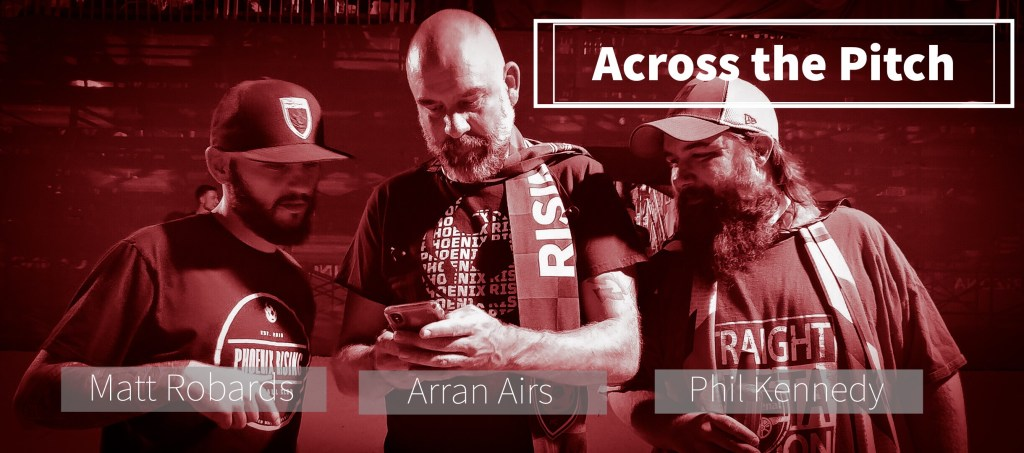 Across The Pitch hosts Matt Robards, Arran Airs, and Phil Kennedy