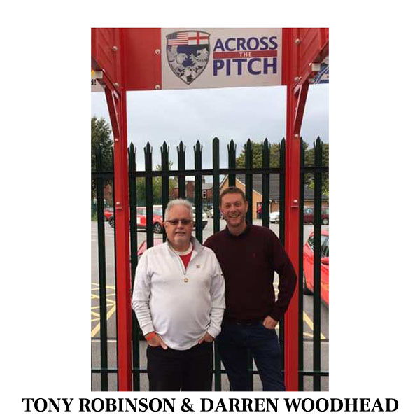 Tony and Darren under Across The Pitch Sign at WHAM Stadium