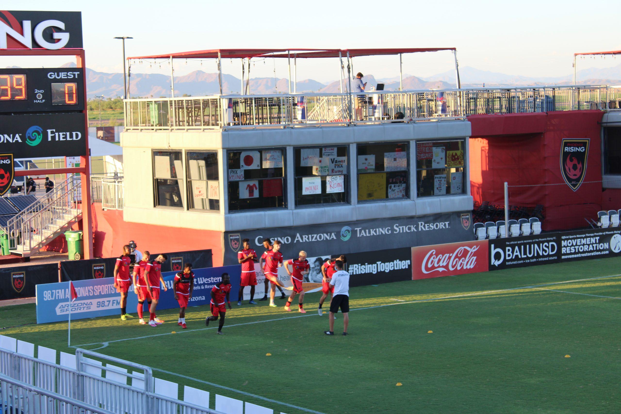 PRFC team huddle before game