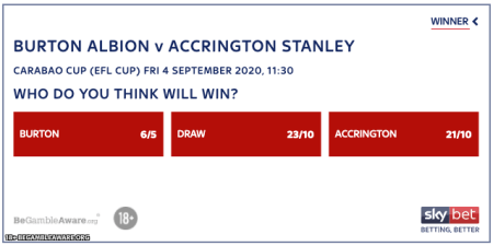 Burton Albion vs Accrington Stanley betting odds EFL Cup