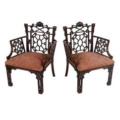 Chinese Chippendale Chairs Uk White Bertoia Side Chair Highly Important Pair Of Armchairs Lord Leverhulme