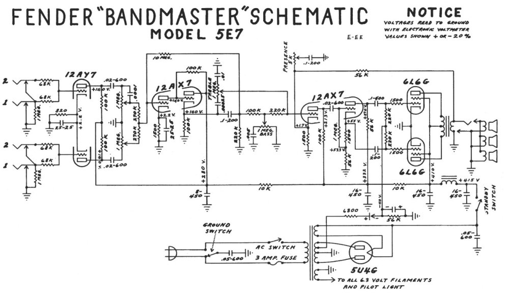 medium resolution of schematics wiring diagram bandmaster 5e7 fender bandmaster 5e7 layout guitar