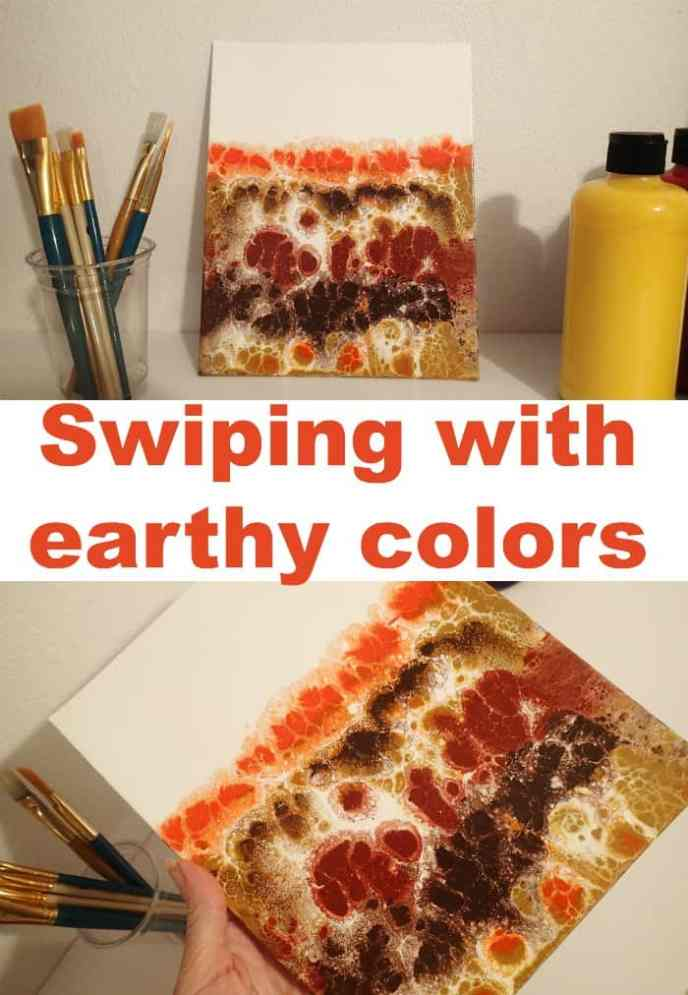 Video tutorial. Swiping with earthy colors, an acrylic pouring tutorial