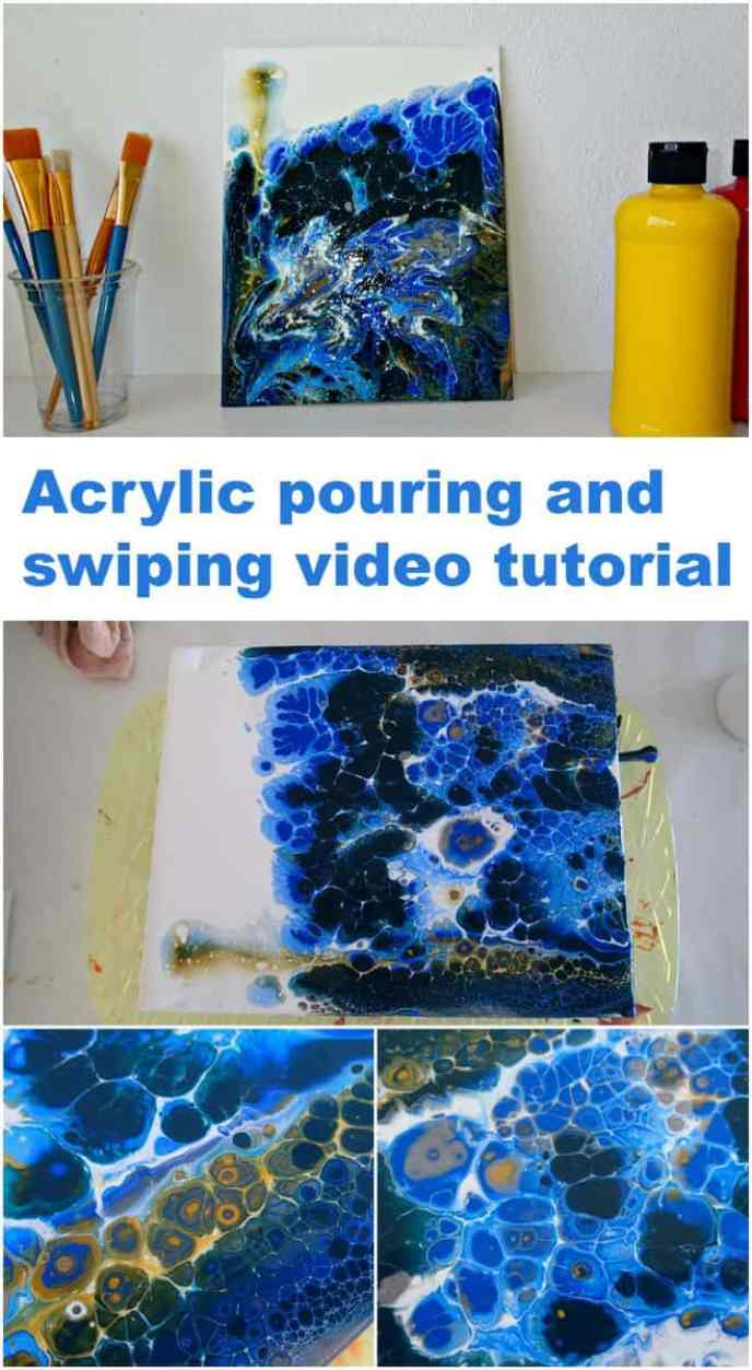 Learn how to paint this deep sea currents acrylic pouring and swiping painting. Video tutorial.