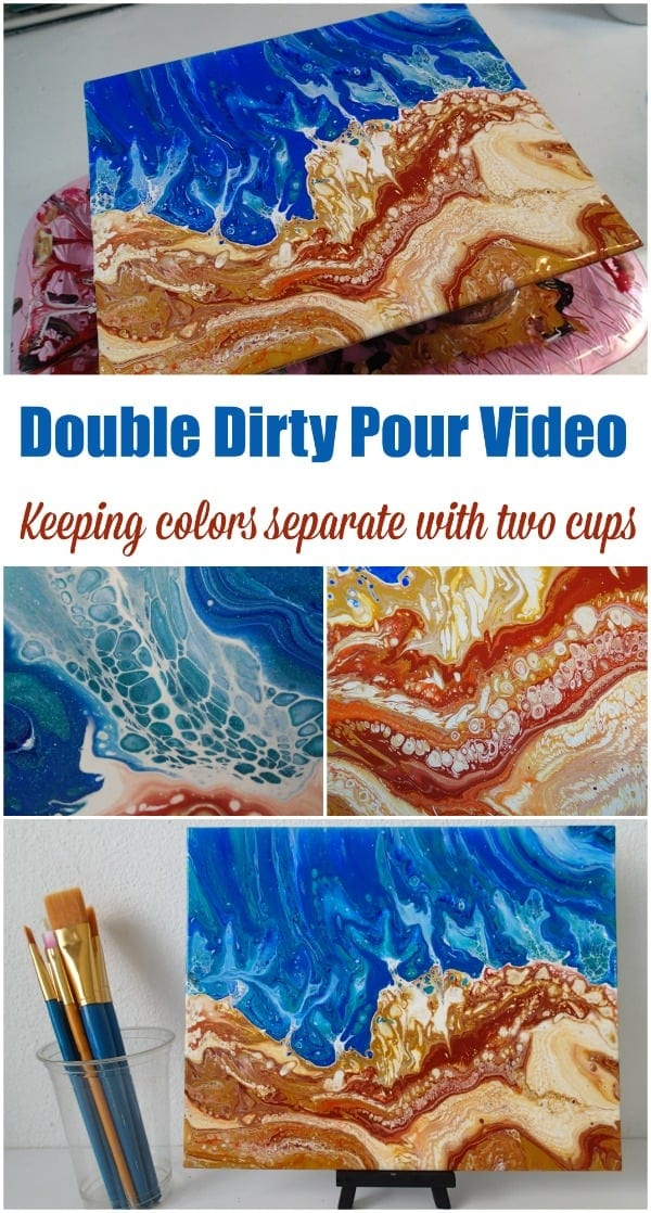 Double dirty pour video. How to create distinct areas of separate colors when acrylic pouring using two dirty pour cups. Ideal for this ocean and beach acrylic painting.