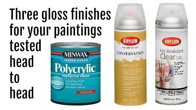 Three gloss finishes for acrylic paintings tested side by side in this video comparison