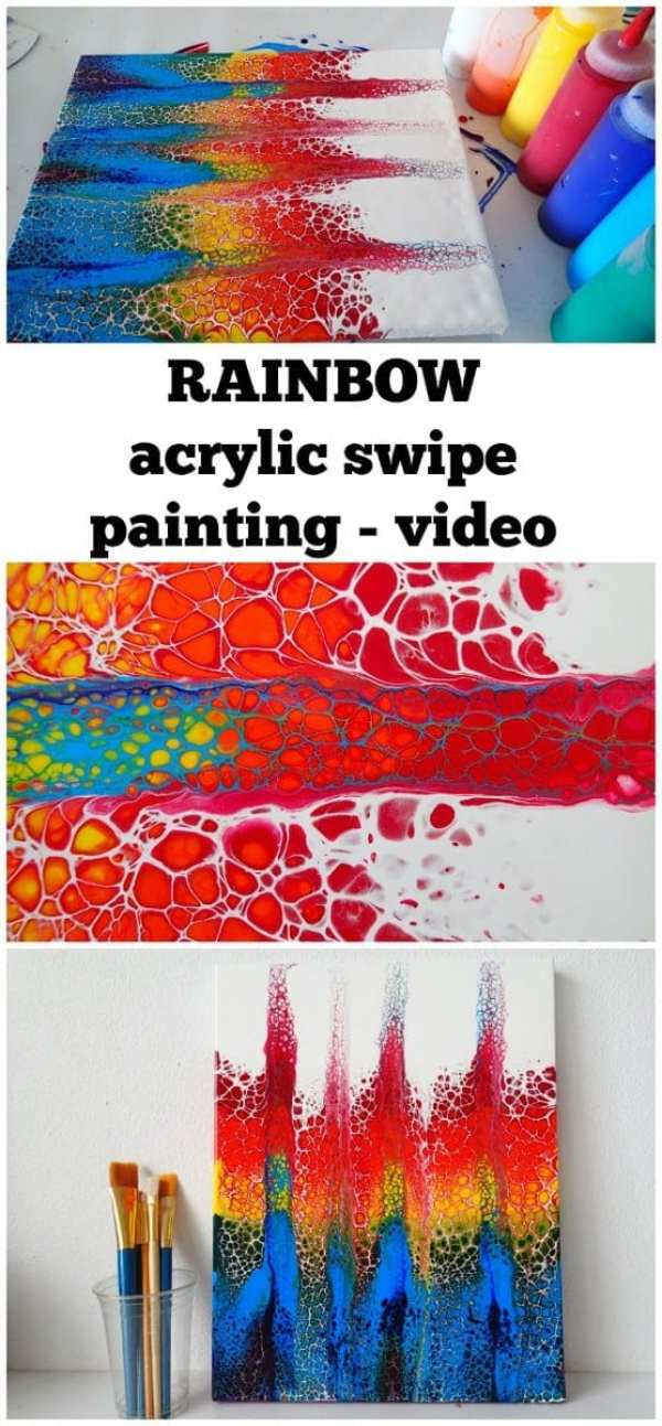Rainbow acrylic swipe painting with a double swipe for How to make fluid acrylic paint