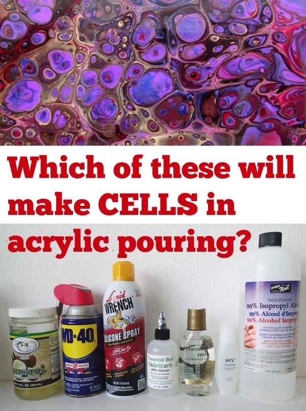 Review of which forms of oil will make beautiful cells in fluid acrylics and acrylic pouring.