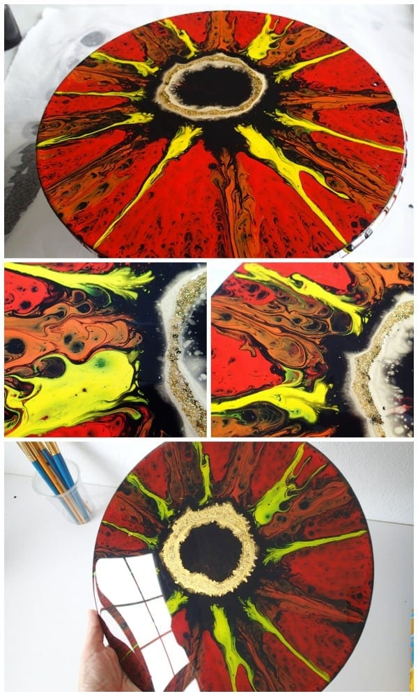 Lord of the Rings inspired acrylic pour and spin painting. Video tutorial for the #februarypouringchallenge