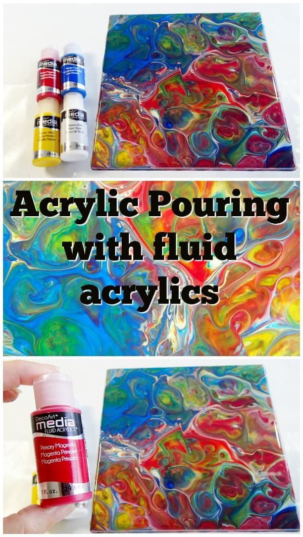 DecoArt Media Fluid Acrylics as used with pouring medium for acrylic pouring. Video tutorial for how to make cells with fluid acrylics.