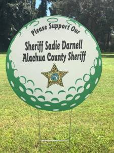 Sheriff Darnell's sponsorship sign at a golf tournament in Gilchrist County