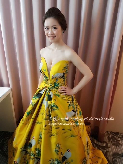 中國風 黃色禮服 時尚黃色禮服 大氣耳環 時尚耳環 寶石耳環