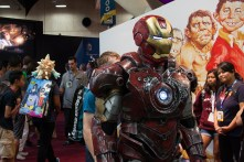 Iron Man makes his way towards the arch-rival DC Comis booth.