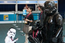 A family of Imperial troopers march their way into SDCC.