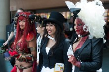 'Warcraft's' Alexstraza joins Zatanna and Two-Face for a picture.