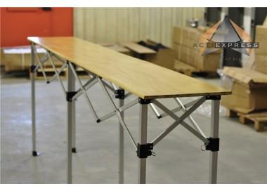 table pliante hauteur reglable 2 85m x 40cm plateau bois pliable