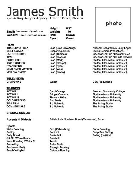 Acting Resume Sample 10 Acting Resume Templates Free Samples