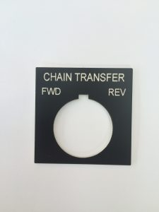 Black plastic label for push button with white letters - 1.85″ x 1.85″