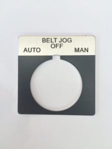 Aluminum and black push button legend plate - black letters circular cut out with tick marks
