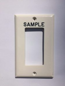 Decora cream plastic engraved device cover switch plate with black permanent markings