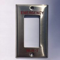 Engraved stainless steel device cover engraved wallplate red paint filled 1-gang
