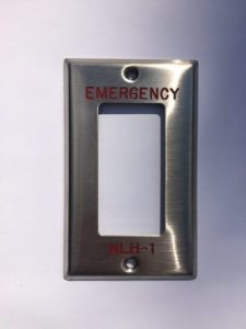 Decora engraved stainless steel device cover switch plate with red permanent markings above and below the opening