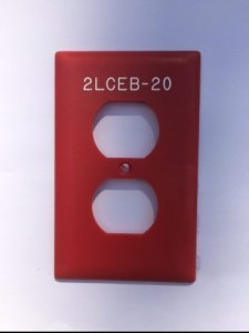 2-gang red vinyl engraved device cover outlet cover with white permanent markings